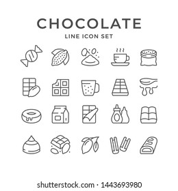 Set line icons of chocolate and cacao