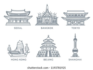 Set line icons of cities. The collection of the most famous and largest cities of Asia. Vector illustration, flat design, white isolated. Seoul, Bangkok, Tokyo, Hong Kong, Beijing, Shanghai
