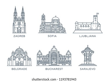 Set line icons of cities. The collection of the most famous and largest cities of Eastern Europe. Flat design, vector, white isolated. Zagreb, Sofia, Ljubljana, Belgrade, Bucharest, Sarajevo