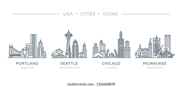 Set line icons of cities. The collection of the most famous and largest cities of United States of America. Vector illustration, flat design, white isolated. Portland, Seattle, Chicago, Milwaukee