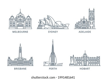 Set line icons of cities. The collection of the most famous and largest cities of Australia. Vector illustration, flat design, white isolated. Sydney, Melbourne, Perth, Brisbane, Adelaide, Hobart