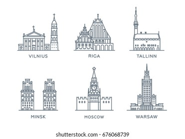 Set line icons of cities. Collection popular cities of Eastern Europe. Flat design, trendy style. Vector, white background isolated. Moscow, Minsk, Vilnius, Warsaw, Riga, Tallinn