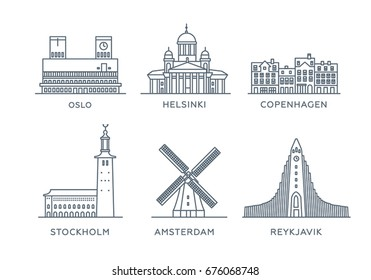 Set line icons of cities. Collection popular cities of Northern Europe. Flat design, trendy style. Vector, white background isolated. Oslo, Helsinki, Copenhagen, Stockholm, Amsterdam, Reykjavik