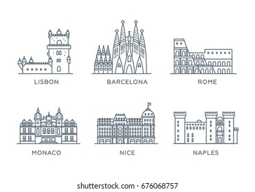 Set line icons of cities. Collection of popular cities of Southern Europe. Flat design, trendy style. Vector, white background isolated. Rome, Barcelona, Lisbon, Monaco, Nice, Naples