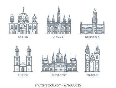 Set line icons of cities. The collection of the most famous and largest cities of Europe. Flat design, trendy style. Vector, white isolated. Berlin, Vienna, Brussels, Zurich, Budapest, Prague