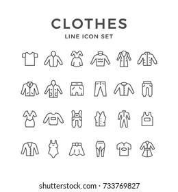 Set line icons of clothes isolated on white. Contains such icons as coat, dress, hoodie, jacket, anorak, overall, vest, trousers, swimwear, skirt, leggins, t-shirt and more. Vector illustration