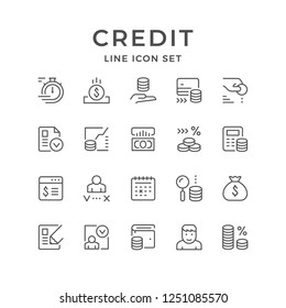 Set line icons of credit