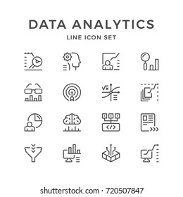 Set line icons of data analytics isolated on white. Contains such icons as big data, chart, graph, diagram, mathematical computing, aim, funnel, statistics and more. Vector illustration