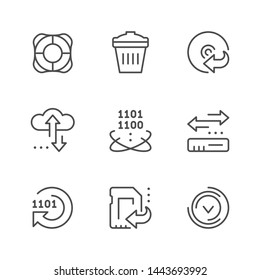 Set line icons of data recovery