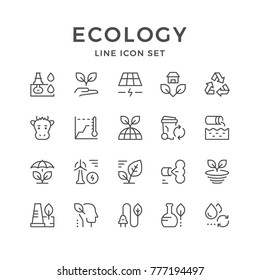 Set line icons of ecology