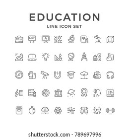 Set line icons of education