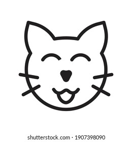 set of line icons, emoticons, cat face, happy symbol vector illustration
