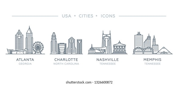 Set line icons of famous and largest cities of USA. Vector outline illustration, flat design, white isolated. State of Georgia, North Carolina, Tennessee. Atlanta, Charlotte, Nashville, Memphis