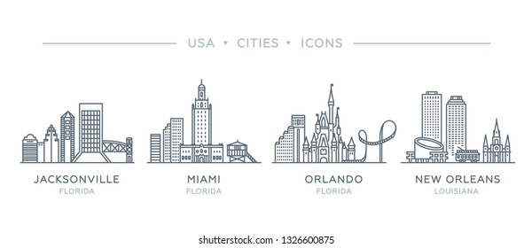 Set line icons of famous and largest cities of USA. Vector outline illustration, flat design, white isolated. State of Florida and Louisiana. Jacksonville, Miami, Orlando, New Orleans