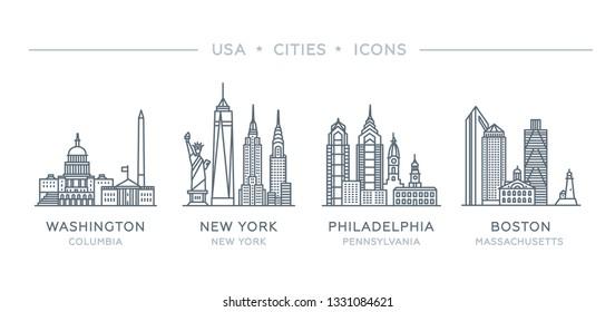 Set line icons of famous and largest cities of USA. Vector illustration, flat design. State of Columbia, New York, Pennsylvania, Massachusetts. Philadelphia, Boston, New York City, Washington
