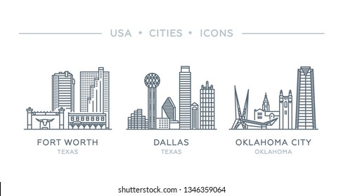 Set line icons of famous and largest cities of USA. Vector illustration, flat design. State of Texas and Oklahoma. Fort Worth, Dallas, Oklahoma City