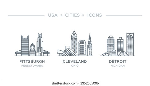 Set line icons of famous and largest cities of USA. Vector illustration, flat design. State of Pennsylvania, Ohio, Michigan. Pittsburgh, Cleveland, Detroit