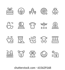 Set line icons of farming and agriculture isolated on white. Farm animals, grain field, winemaking, beekeeping and rural industry. Vector illustration