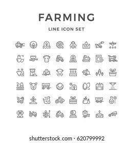 Set line icons of farming and agriculture isolated on white. Farm animals, seeding and agricultural machinery. Vector illustration