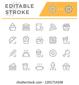 Set line icons of fast food