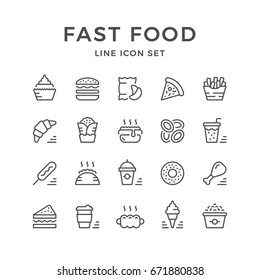 Set line icons of fast food isolated on white. Contains such icons as sandwich, hamburger, pizza, soda, smoothies, cupcake, chips, pop corn, ice cream, coffee, bagel and more. Vector illustration