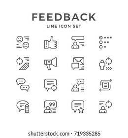 Set line icons of feedback isolated on white. Contains such icons as text message, like, speech bubble, comment, person opinion, quality assessment, loudspeaker and more. Vector illustration