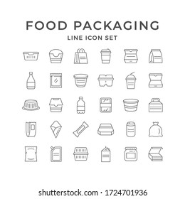 Set line icons of food packaging