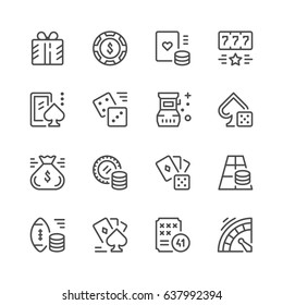 Set line icons of gambling