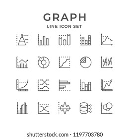 Set line icons of graph and diagram