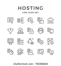 Set line icons of hosting isolated on white. Contains such icons as server, cloud storage, login and password, data security, download speed, call center, domain and more. Vector illustration