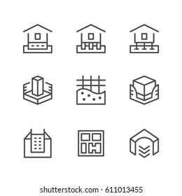 Set line icons of house foundation