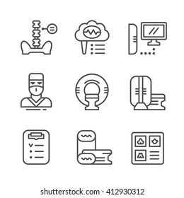 Set line icons of magnetic resonance imaging