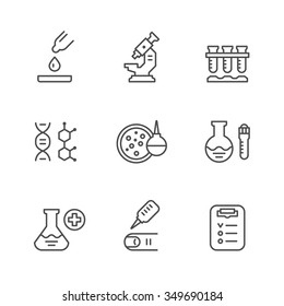 Set line icons of medical analysis isolated on white. Vector illustration