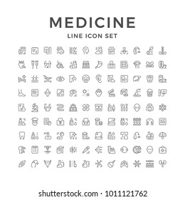 Set line icons of medicine