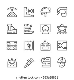 Set line icons of mining