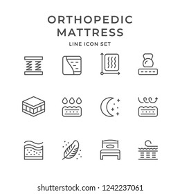 Set line icons of orthopedic mattress