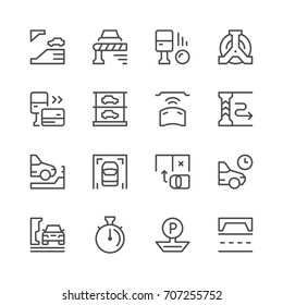 Set line icons of parking