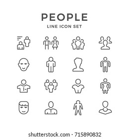 Set line icons of people isolated on white. Contains such icons as user, group, person, member, staff, employee, avatar, man, woman, manager, worker, human resource and more. Vector illustration