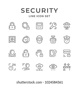 Set line icons of security