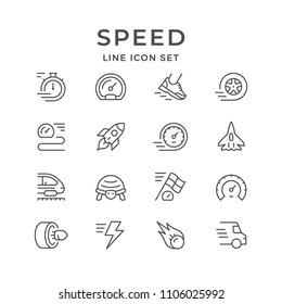 Set line icons of speed