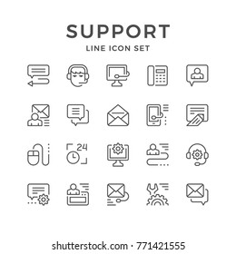 Set line icons of support