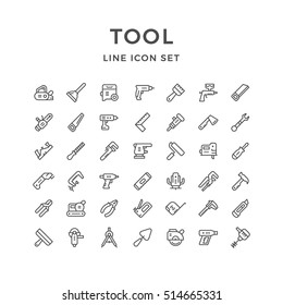 Set line icons of tool isolated on white. Hand and electric tool. Vector illustration