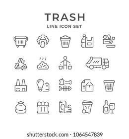 Set line icons of trash