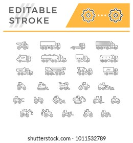 Set line icons of trucks and tractors