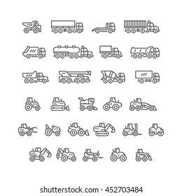 Set line icons of trucks and tractors isolated on white. Vector illustration