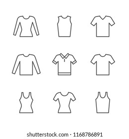 Set line icons of t-shirt, singlet, long sleeve