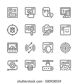 Set line icons of web development