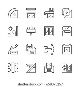 Set line icons of window isolated on white. Glass material symbol. Plastic window scheme. Vector illustration