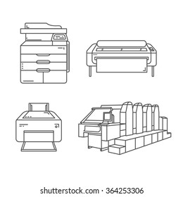 Set of line illustrations of printers. Includes large format ink-jet printer, offset printer, ink-jet photo printer and laser printer.