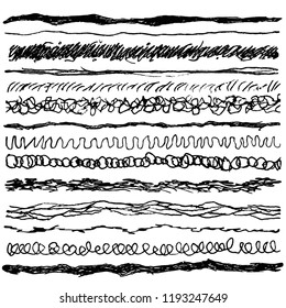 Set of line ink strokes, ballpoint pen or pencil. Collection of grunge brushes with rough edges. Hand draw vector